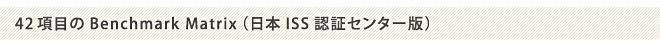 42項目のBenchmark Matrix(日本ISS認証センター版)